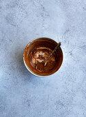 Ice cream mood shot of empty ice cream bowl