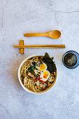Mushroom ramen with eggs and seaweed (Nori)