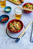 Noodles with ground pork, sambal olek, soy and oyster sauce