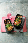 Japanese bento box with tofu in panko and glass noodle salad