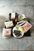 Japanese ingredients - tofu, dashi, udon noodles, mu-err mushrooms, yuzu, wonton leaves