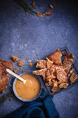 Salty crackle with honey butter gravy