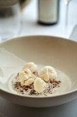Cheesecake cream with camomile, chocolate malt and milk and honey
