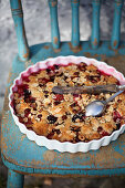 Summer cobbler with plums