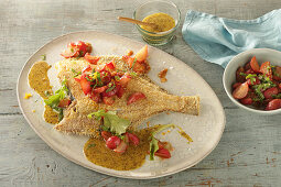 Breaded plaice with pickled radishes