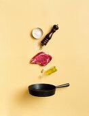 The steak principle – oil, steak, pepper and salt