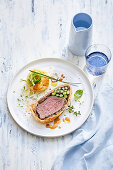 Asparagus and Potato Gratin with Beef Wellington