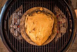 Grilling a porterhouse steak in a salt crust