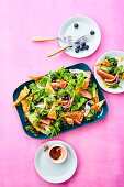 Fattoush – Oriental bread salad with a sumach dressing and blueberries