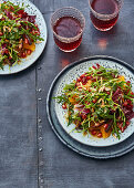 Bitter Sweet Symphony salad with almonds, dates and pomegranate