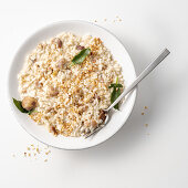 Risotto with chestnuts, goat's cheese and hazelnuts