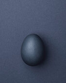 Purple-gray Easter egg on a purple-gray background