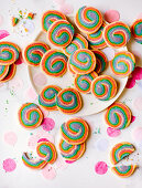 Colourful spiral biscuits