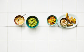 Four quick dips with potato wedges