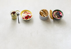 Four types of breakfast cereals