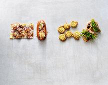Four types of oven-baked crispy finger food