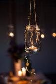 Tealight holder made from screw-top jar
