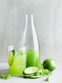 Cucumber juice with mint and lime
