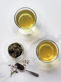Green tea in clear cups