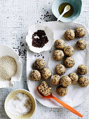 Oatmeal bliss balls and ingredients