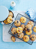 Banana, blueberry and oat muffins