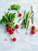 Radishes and green asparagus