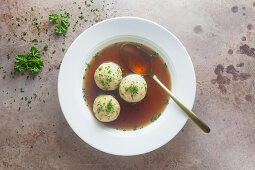 Clear beef broth with bread dumplings