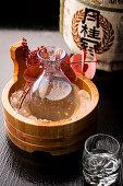 A bottle of ice cold Japanese sake (rice wine)