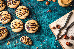 Vegan cookies with hazelnuts salted caramel and chocolate