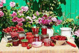 Still life with strawberry jam