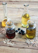 Sunflower oil, olive oil, rapeseed oil and flaxseed oil