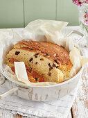 Stollen bread with sultanas