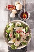 Porcini mushroom salad with baby spinach and Grana Padano cheese