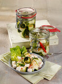 Pickled courgettes with feta