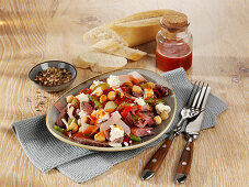 Mediterranean meat salad with feta cheese