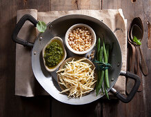 Ingredients for Trofie with pesto, potatoes, beans and pecorino cheese