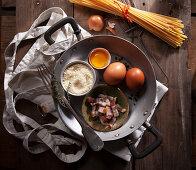 Ingredients for Spaghetti Carbonara - Bacon, Egg, Pecorino