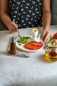 Vegetable breakfast with boiled egg