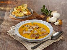 Potato and pumpkin soup with porcini mushrooms
