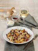 Mushroom risotto with radicchio