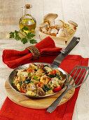 Spicy gnocchi mushroom pan