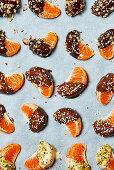 Choc dipped mandarin pieces
