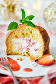 Panettone with ice cream filling