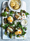 Gluten-free grilled mushrooms with dukkah eggs and crisp kale