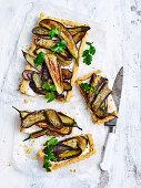 Honey-roasted eggplant tart