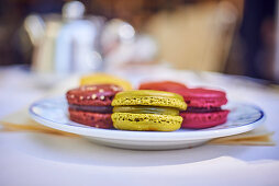 Colorful french macarons on a tray