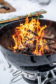 Lit wood burning grill