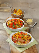 Potato and mince casserole with peppers