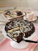 Chocolate biscuit cheesecake, sliced