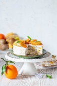 Crepe cake with fruit and cottage cheese cream